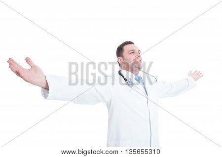 Male Doctor Posing With Open Arms Like Feeling Accomplished