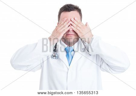 Concept Of Male Medic Or Doctor Making Blind Gesture