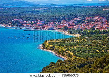 Pakostane town and bay aerial view Dalmatia Croatia