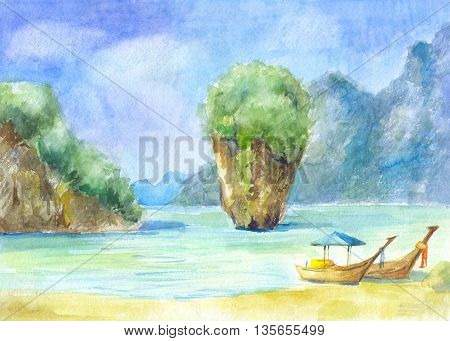 Landscape with rocks the sea and the boats painted in watercolor. Beach in Phuket Thailand. Suit for poster wallpaper postcard invitation cover of notebook
