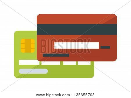 Flat vector money credit card isolated on white background. Vector money credit card icon. Money business cards for payments