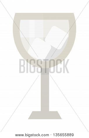 Empty wine glass isolated on white background. Alcohol transparent wine white empty wine glass. Vector empty wine glass restaurant clean glassware beverage elegant goblet crystal cup.