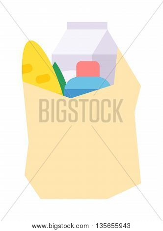 Shopping box full of healthy organic fresh and natural food. Flat vector shop product basket icon. Shop product pack retail store shopping supermarket plastic handle basket.