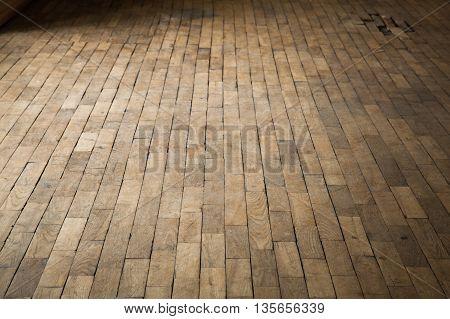 Old Damaged Brown Wooden Parquet