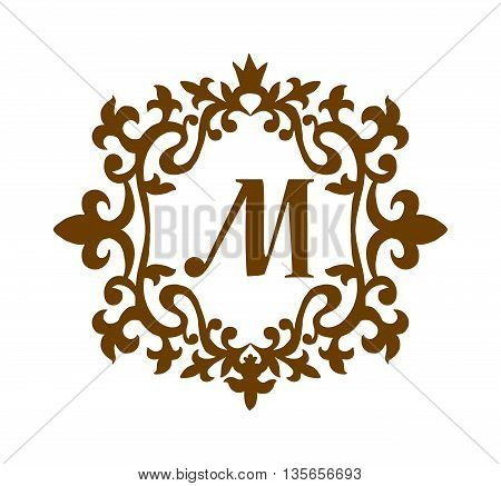Business M sign monogram logo and badge emblem line vector illustration. Emblem monogram luxury badge logo template flourishes calligraphic M elegant ornament lines vector.