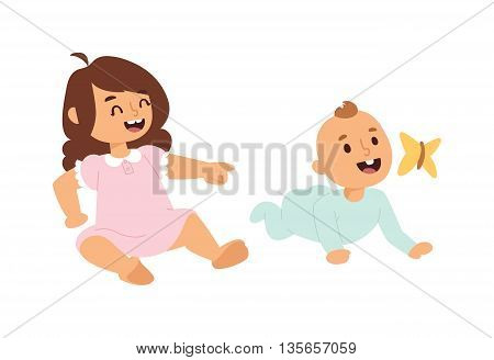 Baby kids sunny cute childhood. Newborn child playing baby kids. Nursery for young children. Bedding baby kids and new born kids and butterfly