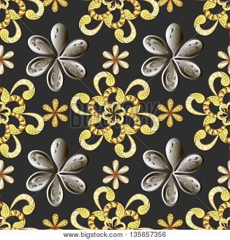 Vector seamless texture. Golden and silver elements on black background. Vintage style.