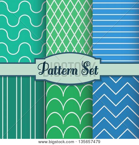 Set of colorful seamless pattern. Simple geometric lines. Blue and green. Patterns can be used as wrapping paper, background, fabric print, web page backdrop, and more