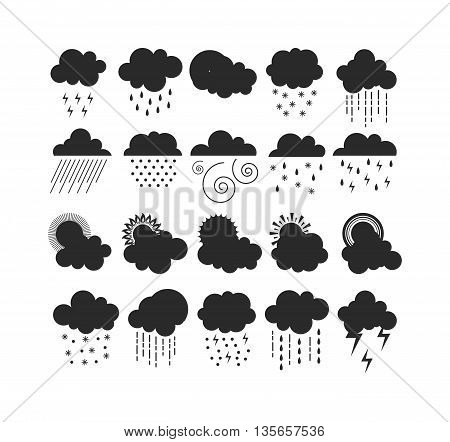 Mega pack of weather black silhouette icons snow climate, sun forecast, rainy storm. Snowflake set wind moon cloud weather icons. Weather icons cloudy design sky nature temperature sunny