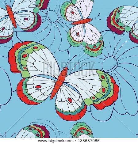 seamless pattern with butterflies and flowers. Vector illustration