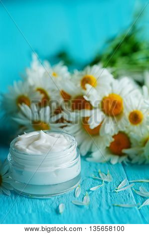 Cosmetic cream with camomile flower or a body and face on blue wooden table.