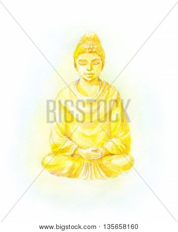 Gold Buddha statue watercolor illustration. Colorful retro illustration. Suit for banner greeting card t-shirt bag print poster.