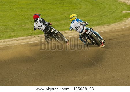 Rivne Ukraine - 11 October 2015: Unknown riders overcomes the track at the Open Cup Speedway to the day of the city Rivne