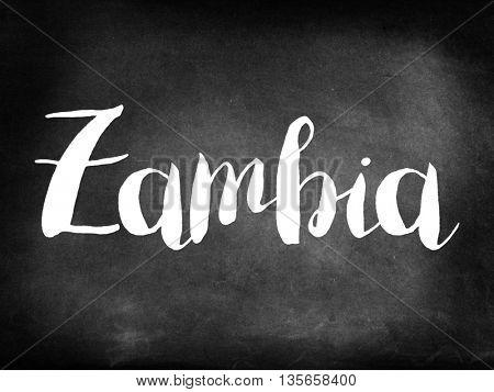 Zambia written on blackboard