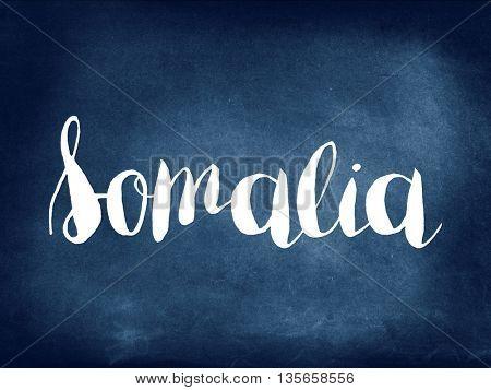 Somalia written on blackboard