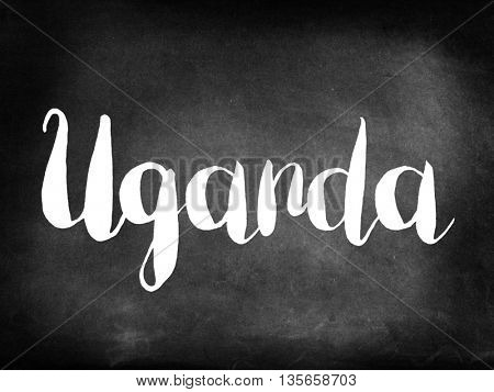 Uganda written on blackboard