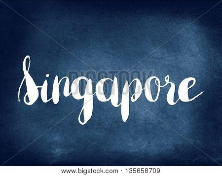 Singapore written on blackboard