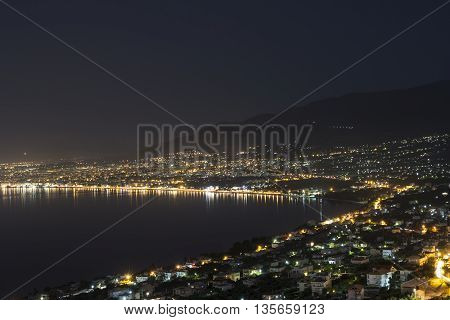 The City Of Kalamata In Greece By Night