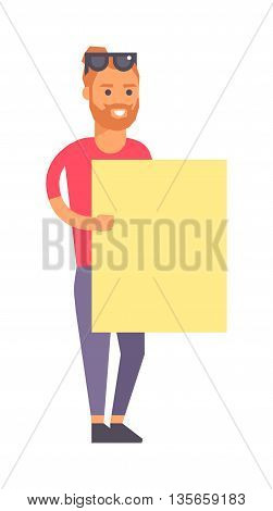 Smiling boy standing with empty horizontal banner blank in hands isolated on white. Boy and banner character vector illustration. Cheerful boy and banner showing billboard fun advertisement.