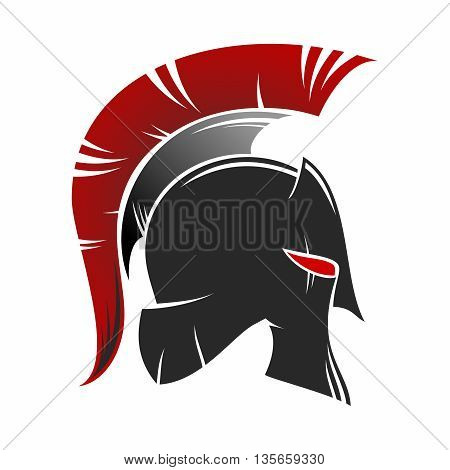 Vector Spartan Helmet Silhouette Illustration isolated on white background