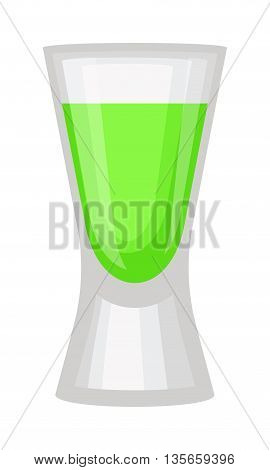 Green alcoholic cocktail in hurricane isolated. Green alcoholic cocktail vector illustration. Ice cold party green cocktail refreshment beverage juice. Freshness liquid celebration sweet color.