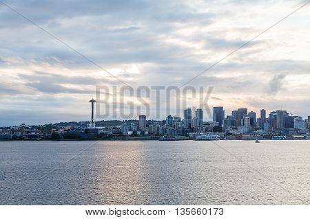 Seattle skyline at dawn from the sea