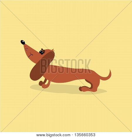 Cartoon dachshund dog. Vector illustration. It can be used for the websites and magazines