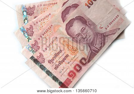 thai money Thai money banknotes isolated 100 baht on white background