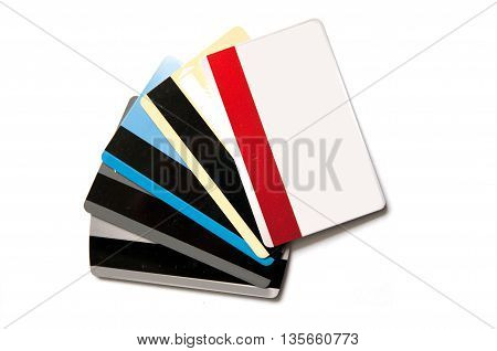 many blank credit card on white background