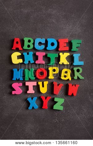 ABC alphabet (letters) on the black chalkboard. Top view. Image could be used to advertise or describe learning process or school subject