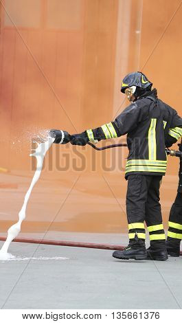 Two Firefighters With Hose Fighting Services