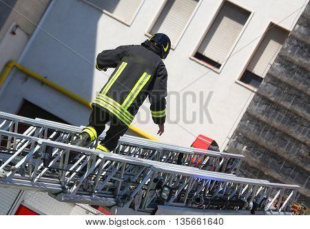 Firefighter Walk On Extended Ladder Of Firetruck