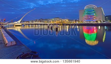 The Samuel Beckett Bridge on the River Liffey in Dublin Ireland.