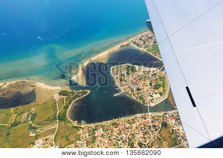 Wing aircraft over the coastal landscape of Croatia