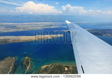 The view from an airplane over the coast of Croatia
