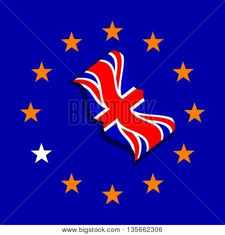 Vector ue and uk flags. Brexit. Vote in Great Britain