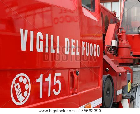 Big Words Vigili Del Fuoco Meaning Firefighters On Red Firetruck