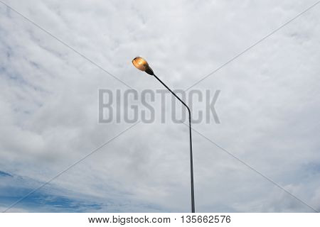 Street lights ,lamp on the road For safety with blue sky background
