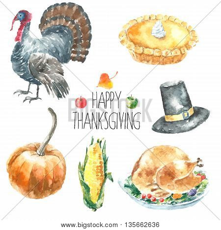 Watercolor thanksgiving day set. Hand drawn cartoon illustrations