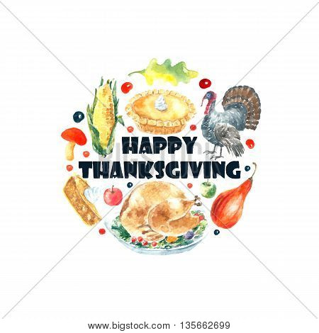 Watercolor thanksgiving day set. Hand drawn round frame illustrations.