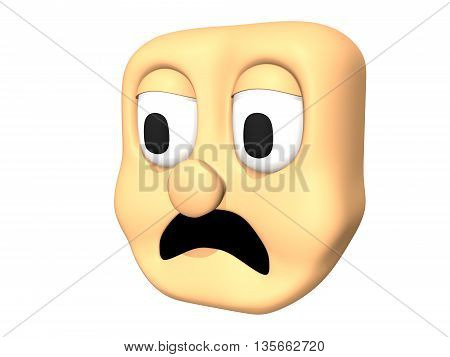 Funny 3D sad head icon of cartoon character. 3D illustration.