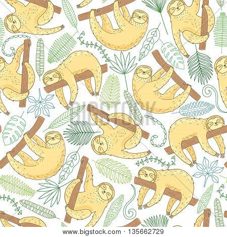 Cute sloth seamless pattern on white background