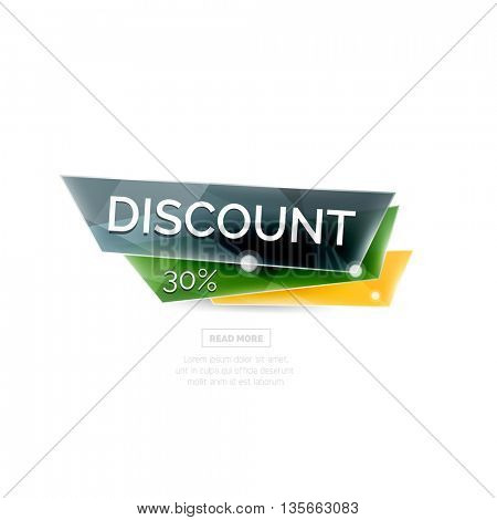 Colorful geometric website sale tag button. universal internet banner
