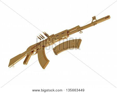3D Gold Assault Rifle