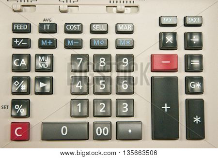 top view of number old calculator background