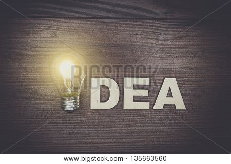 idea concept on the brown wooden background