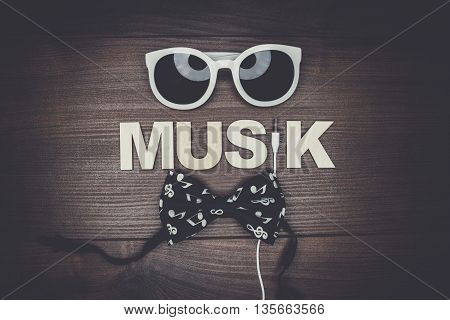 modern music concept on the wooden background