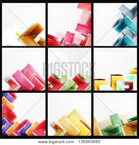Set of arrow background - web brochures, internet flyers, wallpaper or cover poster designs. Geometric style, colorful realistic glossy arrow shapes, blank templates with copyspace. Directional idea