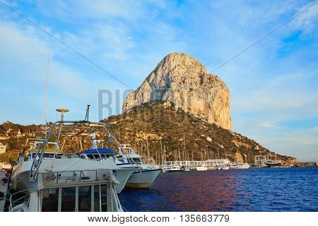 Calpe Penon de Ifach rock in Mediterranean with marina at spain