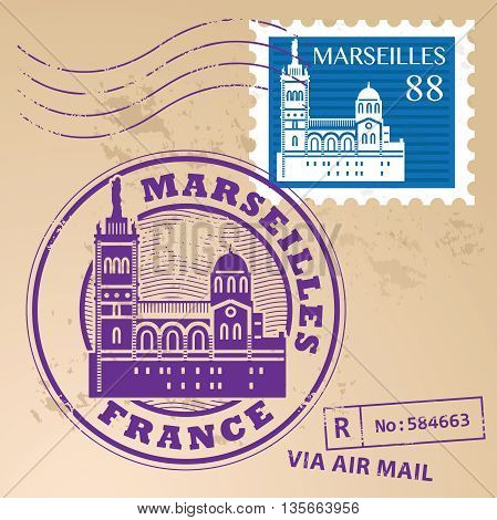 Grunge rubber stamp set with words Marseilles, France, inside vector illustration